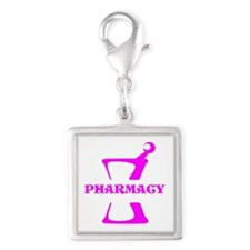 Pink Mortar and Pestle Silver Square Charm