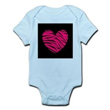 Hot Pink and Black Zebra Heart Body Suit
