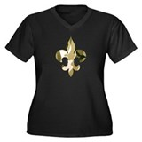 Fleur de lis Camo Women's Plus Size V-Neck Dark T-