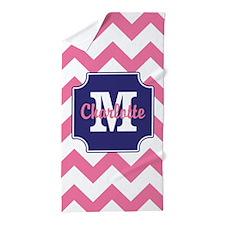 Monogram Pink Blue Chevron Print Beach Towel