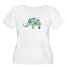 Colorful Retro Flowers Elephant Shape Plus Size T-