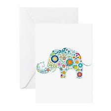 Colorful Retro Flowers Elephant Shap Greeting Card