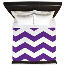 Purple And White Chevron King Duvet