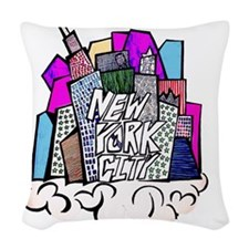 nyc bish  Woven Throw Pillow