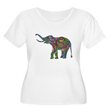 Cute Retro Colorful Floral Elephant Plus Size T-Sh