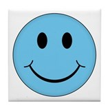 Blue Smiley Face Tile Coaster