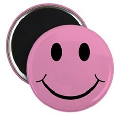 "Pink Smiley Face 2.25"" Magnet (100 pack)"