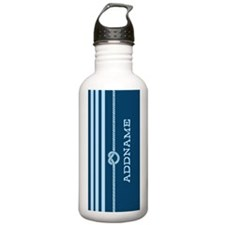 Navy Nautical Rope Knot Personalized Water Bottle