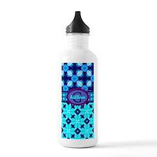 Blue Geometric Retro Pattern Personalized Water Bo