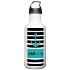 Teal Black Anchor Stripes Personalized Water Bottl