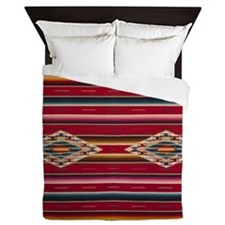 Southwest Red Serape Saltillo Queen Duvet