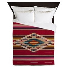 Southwest Red Saltillo Serape Queen Duvet