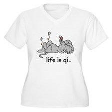 Life is Qi Mouse Acupuncture Moxa Plus Size T-Shir