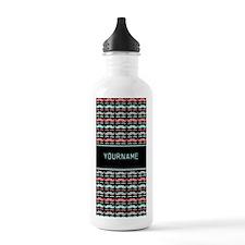 Girly Mustache Patterns Trendy Monogram Water Bottle