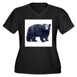Black Bear Women's Plus Size V-Neck Dark T-Shirt