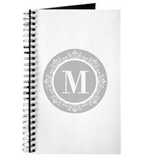 Gray | White Swirls Monogram Journal