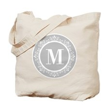 Gray | White Swirls Monogram Tote Bag