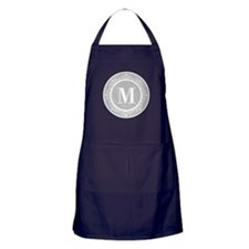 Gray | White Swirls Monogram Apron (dark)