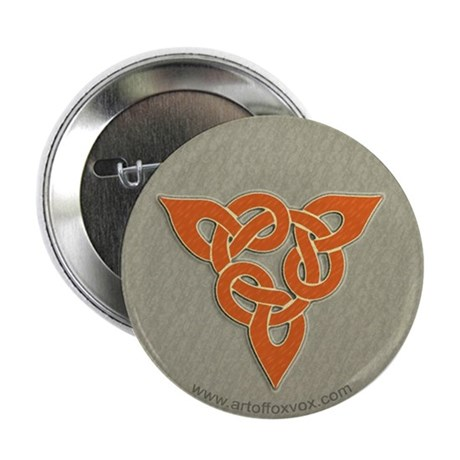 Celtic Triad Slate/Orange Knot Button