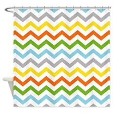 Chevron Mod Neutrals Shower Curtain