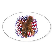 Irish Setter Patriotic Oval Decal