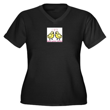 Chicks gettin' Hitched Women's Plus Size V-Neck Da