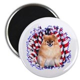 Pomeranian Patriotic Magnet