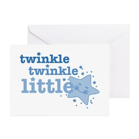 Twinkle Star Blue Greeting Cards (Pk of 10)