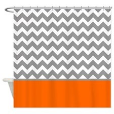 Gray Chevron Pattern Orange Stripe Shower Curtain
