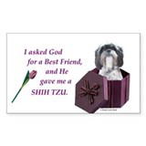Shih Tzu (White, Black, Gray) Sticker (Rectangular