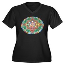 Mandala Women's Plus Size V-Neck Dark T-Shirt