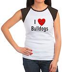 I Love Bulldogs (Front) Women's Cap Sleeve T-Shirt