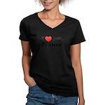 I Love My Fiance Women's V-Neck Dark T-Shirt