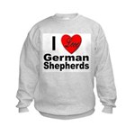 I Love German Shepherds (Front) Kids Sweatshirt