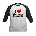 I Love German Shepherds Kids Baseball Jersey