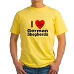 I Love German Shepherds (Front) Yellow T-Shirt