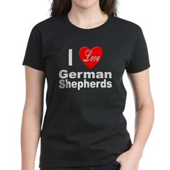 I Love German Shepherds (Front) Women's Dark T-Shi