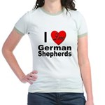 I Love German Shepherds (Front) Jr. Ringer T-Shirt