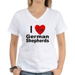 I Love German Shepherds (Front) Women's V-Neck T-S