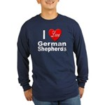 I Love German Shepherds (Front) Long Sleeve Dark T