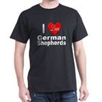 I Love German Shepherds (Front) Dark T-Shirt