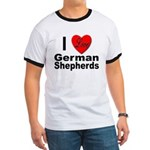 I Love German Shepherds (Front) Ringer T