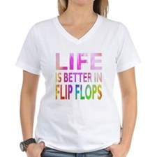 Life Is Better In Flip Flops Block Tie Dye T-Shirt