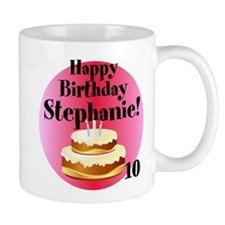 Personalized Name/Age Birthday Cake Pink Mugs