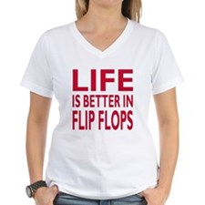 Life Is Better In Flip Flops Block Red T-Shirt