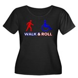 Walk and Roll Women's Plus Size Scoop Neck Dark T-