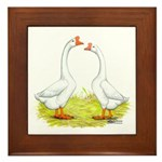 White Chinese Geese Framed Tile