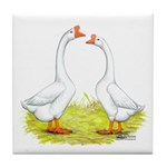 White Chinese Geese Tile Coaster