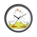 White Chinese Geese Wall Clock