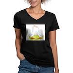 White Chinese Geese Women's V-Neck Dark T-Shirt